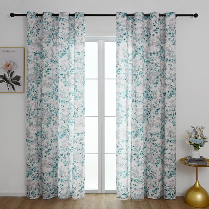GDeal Curtains Environmental Friendly Pastoral Flower Garden Bedroom Ring Curtain Langsir (100cm x 130cm)