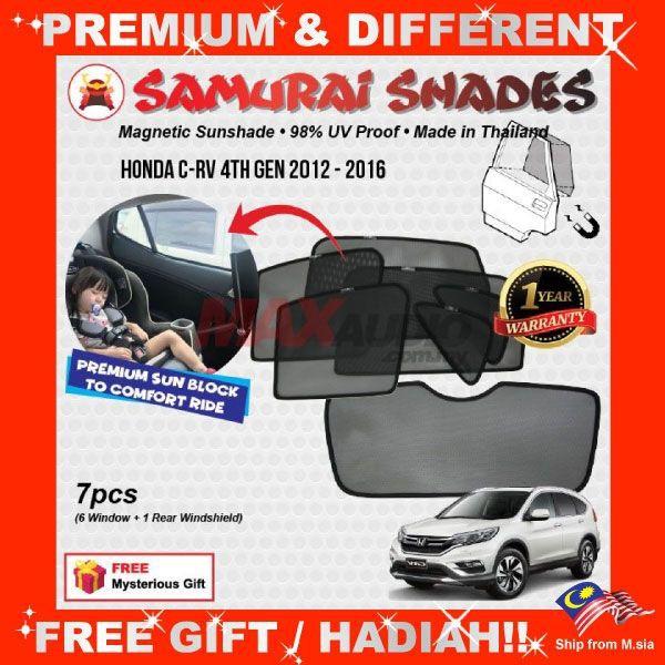 [FREE Gift] HONDA CRV 2012 - 2016 SAMURAI SHADES FULLY MAGNETIC WINDOW SUNSHADE