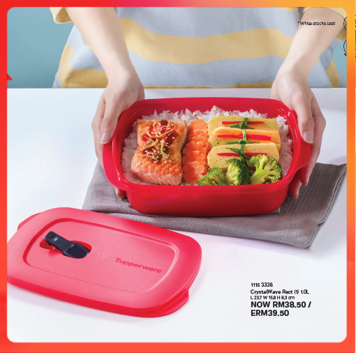 Tupperware CrystalWave Rect 1.0L  - Tupperware Lunch Box - Tupperwae microwave Reheatable Lunch box - Ready Stock