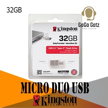 {Ship Out Within 24 Hours} Kingston Micro Duo 3C USB 3.1 Pen Drive USB Type-C and Type-A - 32GB