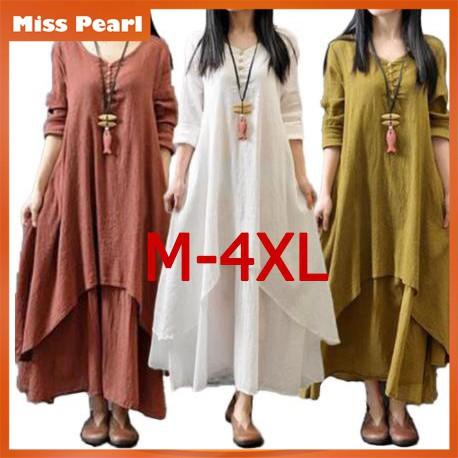 dd2c2ce6ba001 🔥🔥🔥 Literary Big Swing Maxi Dress Loose Long-sleeved Cotton Dress-8472