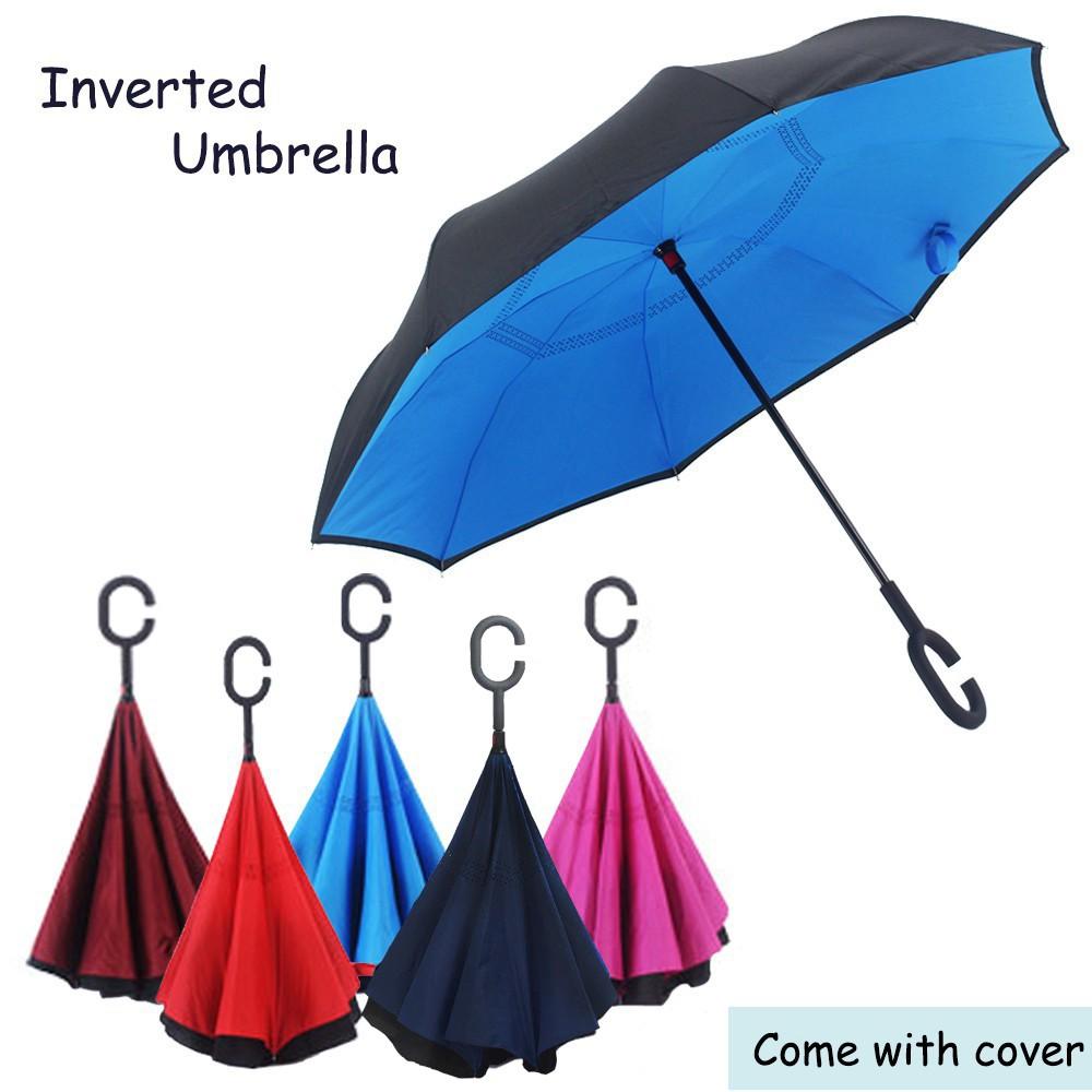 cc6efe72d866 Inverted Reverse Double Layer Umbrella C Handle Hook 190T