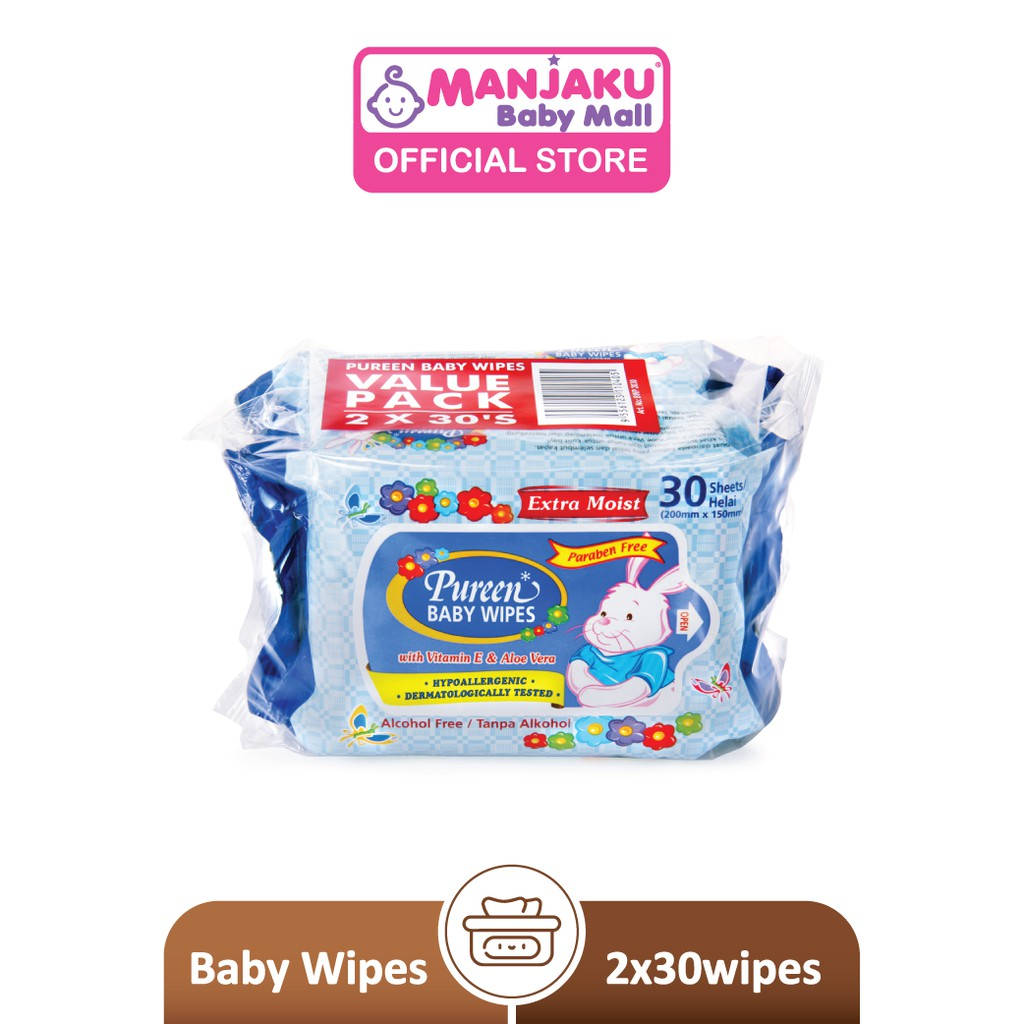 Pureen Baby Wipes - Blue (2 x 30's)
