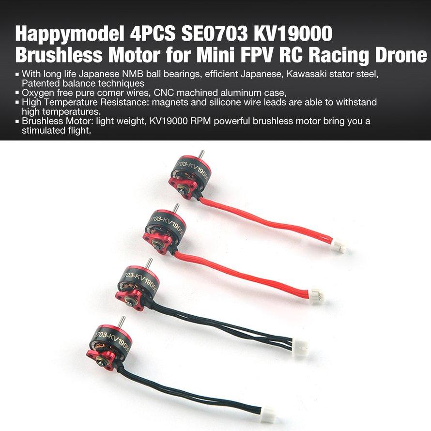 ★☞Happymodel 4PCS SE0703 KV19000 Brushless Motor for Mini FPV RC Racing  Drone