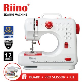 Riino Sewing Machine Portable Handheld Dual Speed 12 Stitch Patterns Option