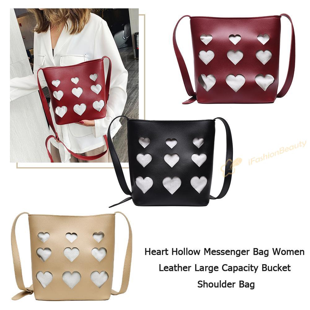 ^;^ Women Leather Large Capacity Heart Hollow Bucket Shoulder Bag