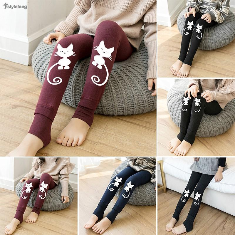 69b08aefc1289 Kids Girls Baby Toddler Cute Cat Fleece Lined Stirrup Leggings Pants Winter  Warm