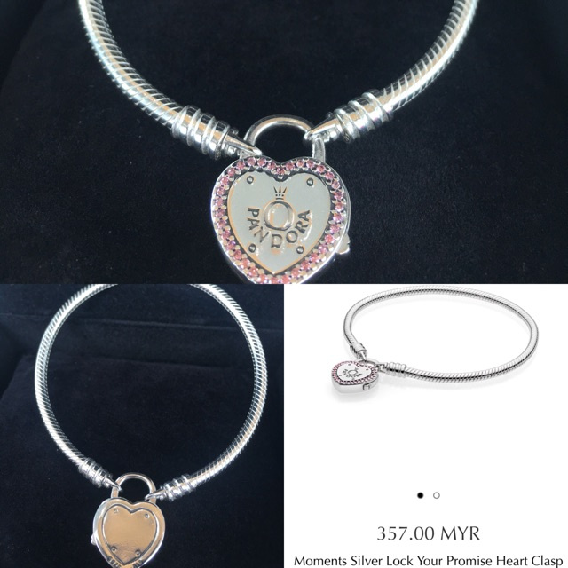 52bc1f93a MOMENTS SILVER LOVE YOUR PROMISE HEART CLASP BRACELET | Shopee Malaysia