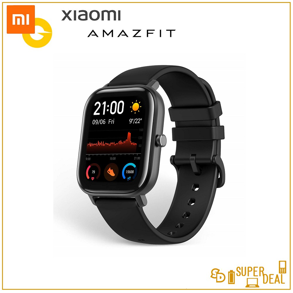 (English) Amazfit GTS 1.65 inch AMOLED display 5 ATM Water Resistance Built In GPS with Silicone Strap
