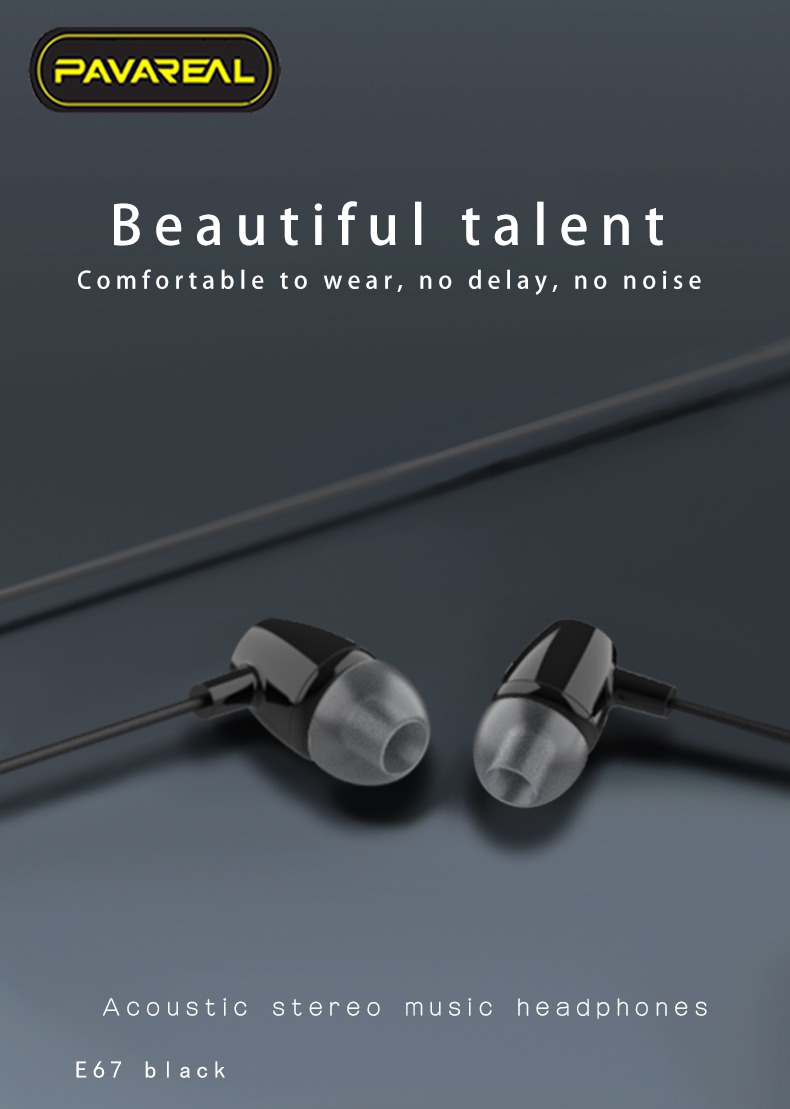PAVAREAL PA-E67 HiFi Stereo Music Headset Earphones 3D Subwoofer Surround HD Mic Comfort to Wear Noise Reduction