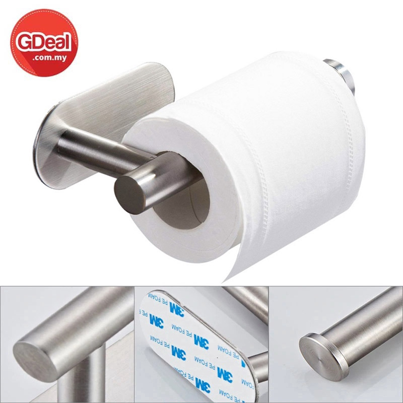 GDeal Stainless Steel Toilet Paper Holder Self Adhesive Bathroom Paper Towel Roll Holder Wall