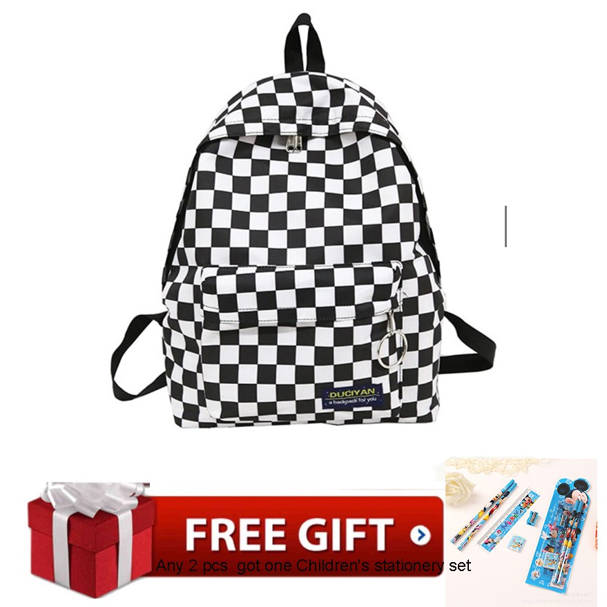 ed8d44642c76 Checkerboard Young Girls Nylon backpack casual girl school bag student book  bag