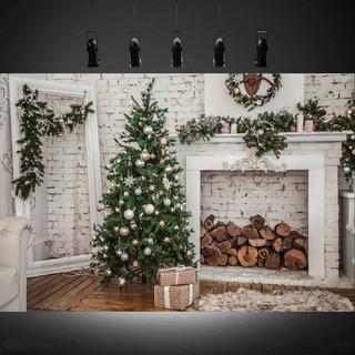Hot 7x5ft Christmas Tree White Wall Fireplace Studio Backdrop