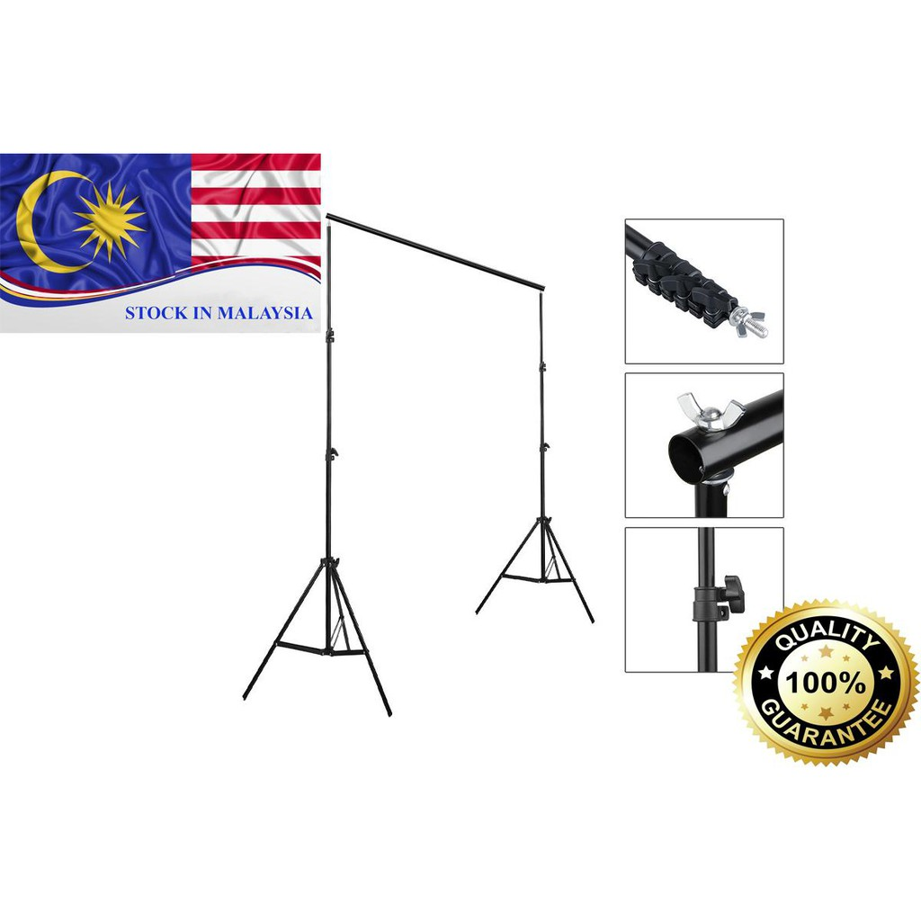 Studio Background Backdrop Stand Support 2 x 2m Portable Handle Kit (Ready Stock In Malaysia)