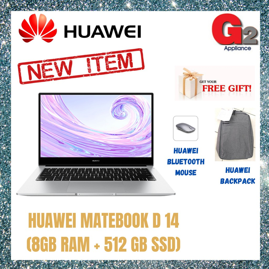 HUAWEI MATEBOOK D 14 (8GB RAM + 512 GB SSD) MYSTIC SILVER - READY STOCK & 100% ORIGINAL HUAWEI WARRANTY MALAYSIA
