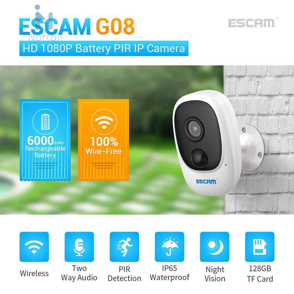 Norton✰ ESCAM G08 1080P WiFi Camera PIR Alarm Video Monitor Home Security Camcorder