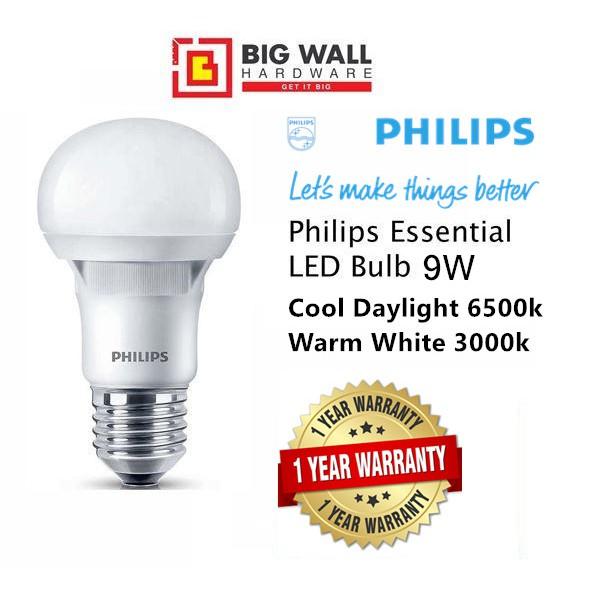 Philips Essential LED Bulb 9W E27 220-240V Cool Daylight *Lampu Mentol