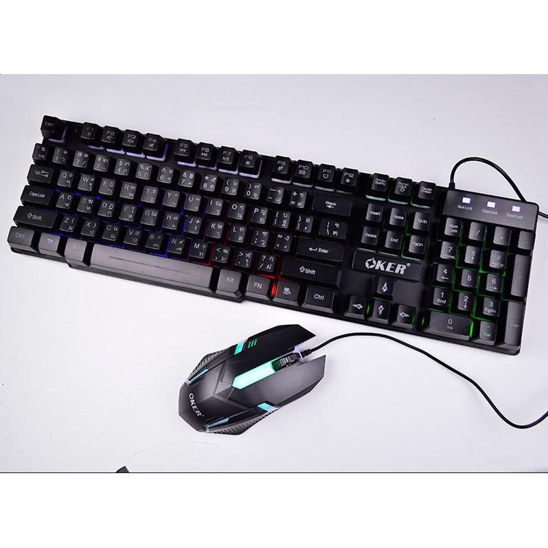 Oker KM-6120 คีย์บอร์ดเรืองแสง+Mouse GAMING
