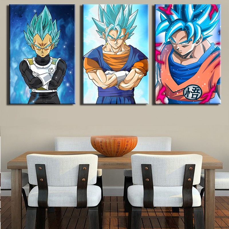 3 Panels Anime Figure Wall Art Pictures Home Decoration Background Wall Sticker Shopee Malaysia