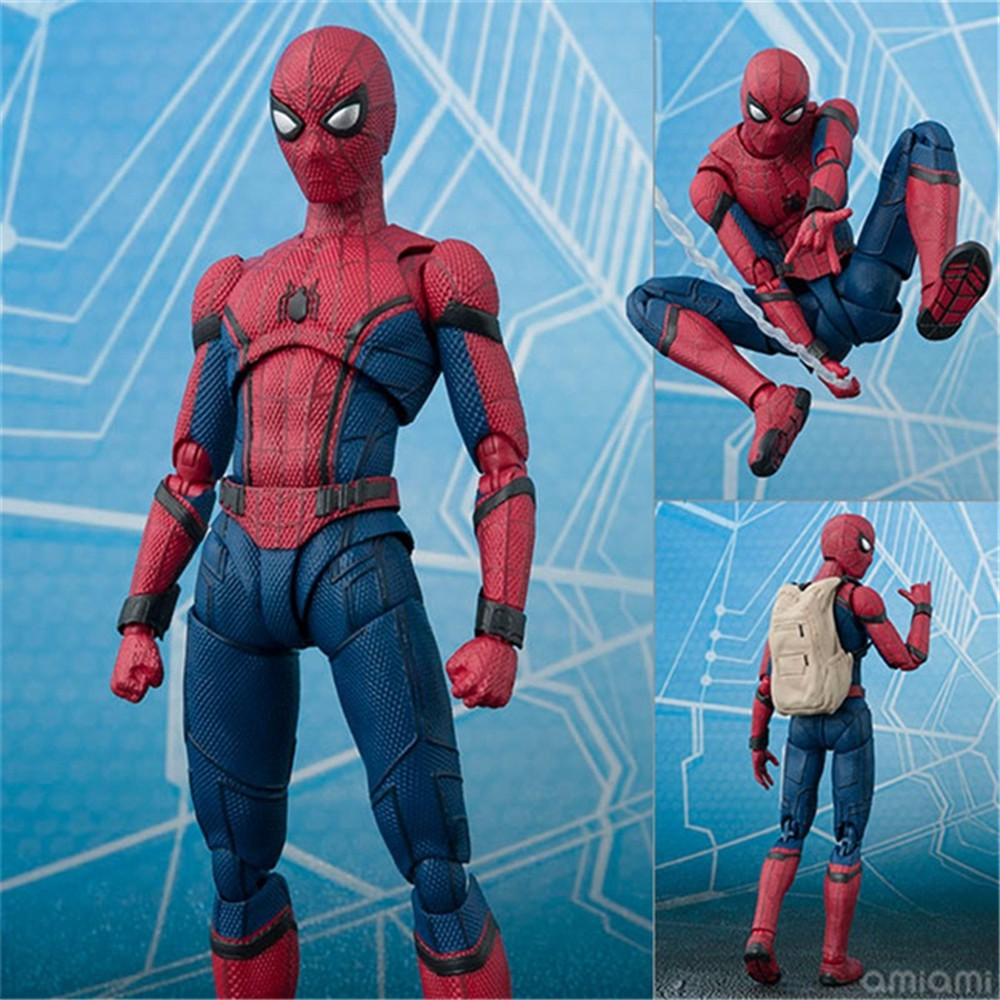 Action & Toy Figures Anime Spiderman Spider Man Black Action Figure Superhero Playarts Spider-man Model Toy 25cm Refreshment