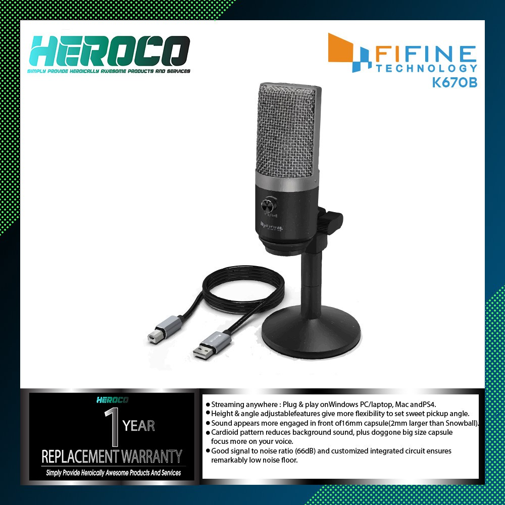 FIFINE K670 USB Microphone PC Microphone for Mac and Windows Computers  Streaming Recording Mixer Live Microphone