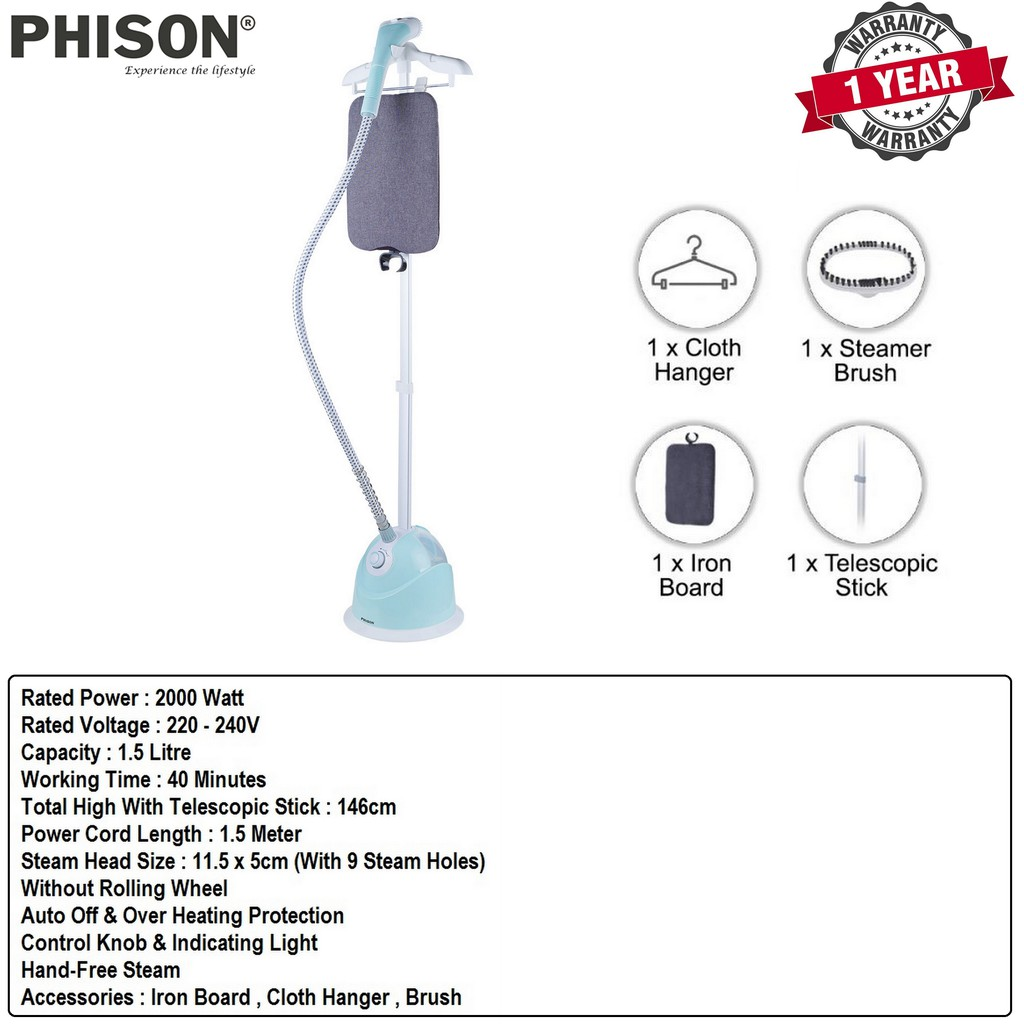 Phison Multifunctional Garment Steamer With Flat Pole & Iron Board - PGS-1161