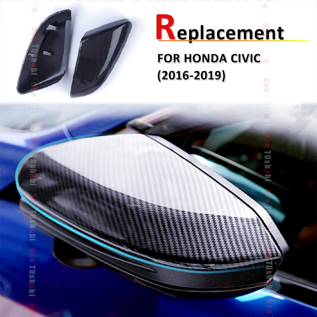 1 Pair Carbon Fiber Style Wing Mirror Covers Car Side Mirror Rearview Mirror Covers Cap for Hon-da Civic Sedan Coupe 2016-2018 Rearview Mirror Cover