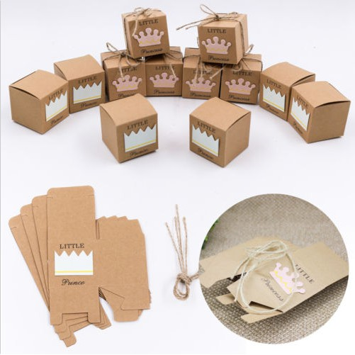 50Pcs Candy Gift Boxes Square Kraft Paper Wedding Favors Guests Party Sup