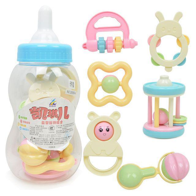 [ READY STOCK ]  Newborn Cute Feeding Bottle Rattle Set 0-24 Month Baby Toy Ring Bell Teether Jualan Murah Budak Mainan