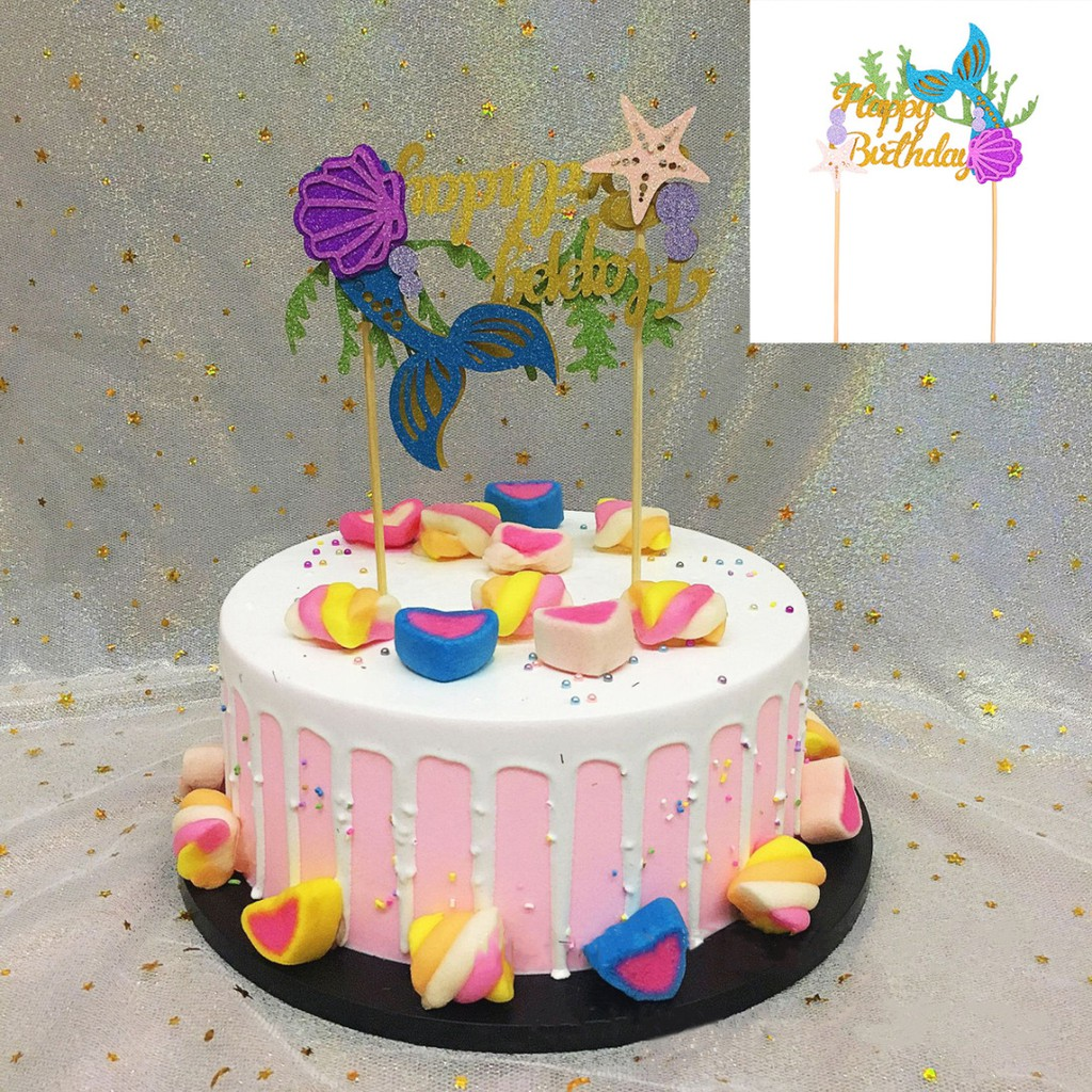 Miraculous Starfish Mermaid Happy Birthday Cake Toppers Cupcake Toppers Diy Personalised Birthday Cards Akebfashionlily Jamesorg
