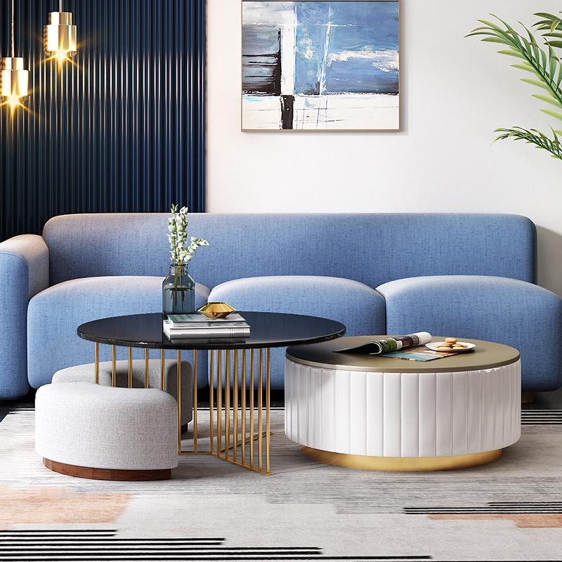 Living Room Furniture Modern Minimalist Round Light Luxury Coffee Table Combination Shopee Malaysia