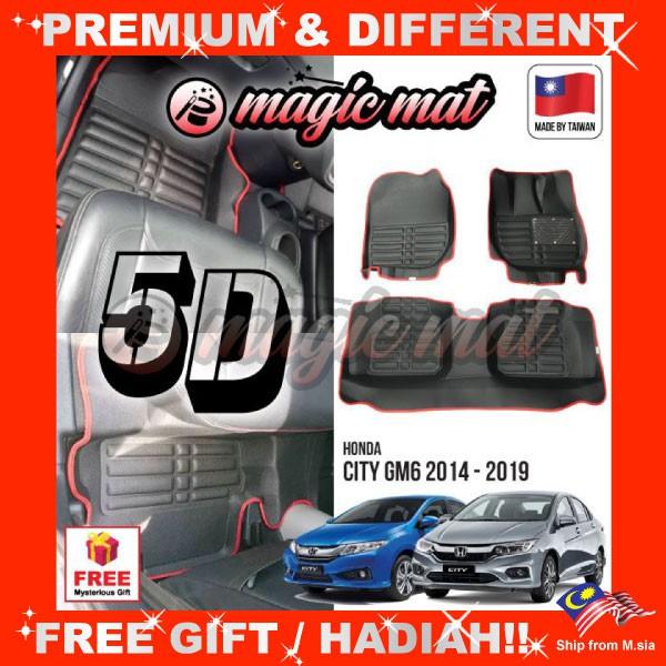 [FREE GIFT Gift] HONDA CITY GM6 2014 - 219 (5 Seater) MAGIC MAT 5D OEM PU Leather Floor Mat Anti-Slip Easy Clean Carpet