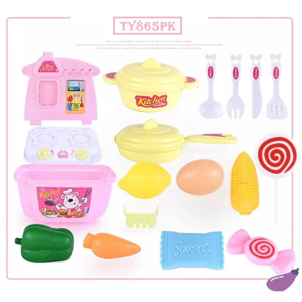 [ READY STOCK ]  21pcs Creative Kitchen Toy Set Educational Mini Pretend Play Baby Budak Mainan Jualan Murah Kitchen