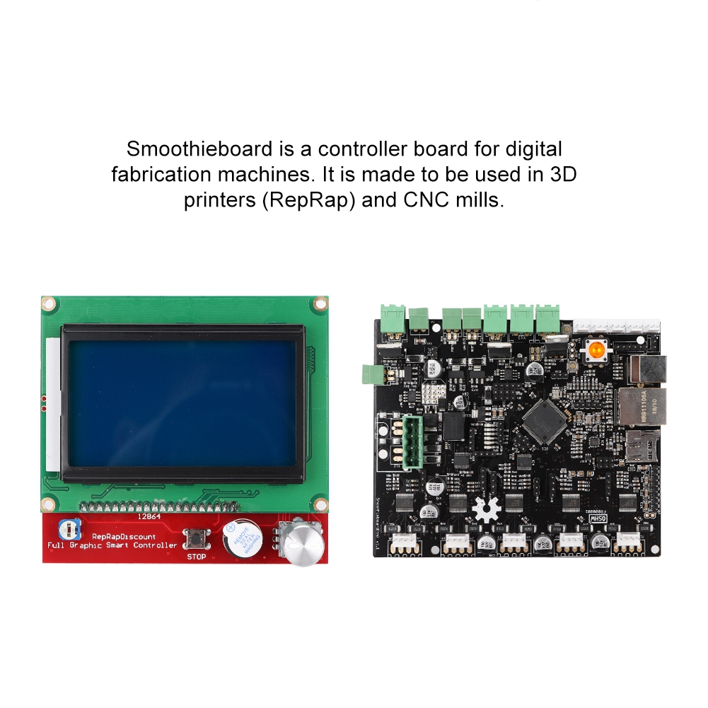 3D Printer Accessories Smoothieboard 5X V1 1+12864 LCD Display Kit With  Adapter Plate