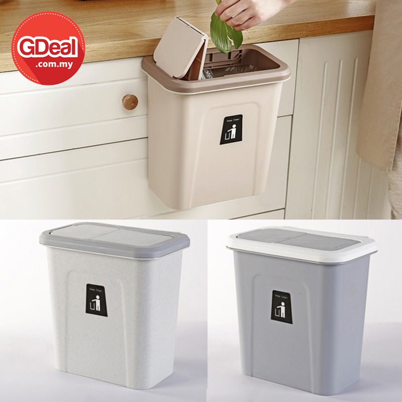 GDeal Hanging Plastic Trash Can Bucket Wall Hanging Dustbin Basket For Cabinet Tong Sampah