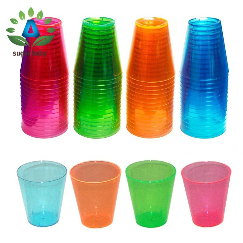 72 Disposable Plastic Neon Coloured Party Jelly Shot Glasses Cup Home, Furniture & DIY
