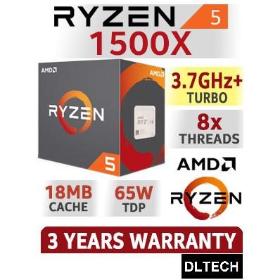 AM4 65W CPU Processor AMD RYZEN 5 1500X 4-Core 3.5 GHz 3.7 GHz Turbo