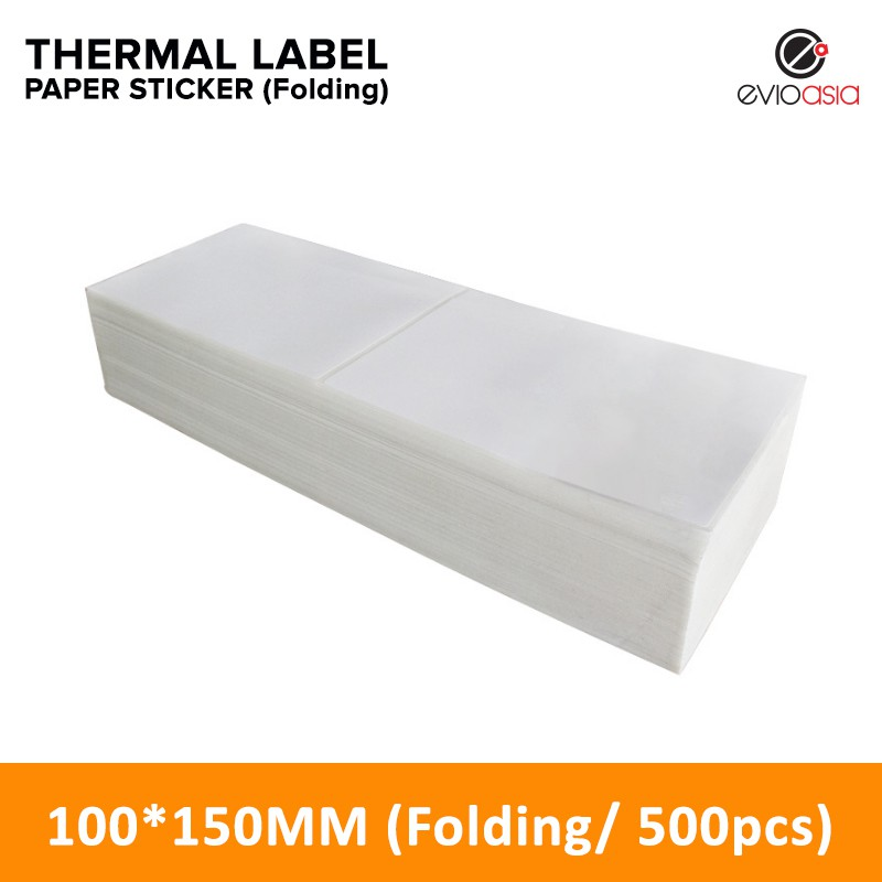 (500pcs) 100mm x 150mm Folding Thermal Label Paper Sticker for Thermal Printer