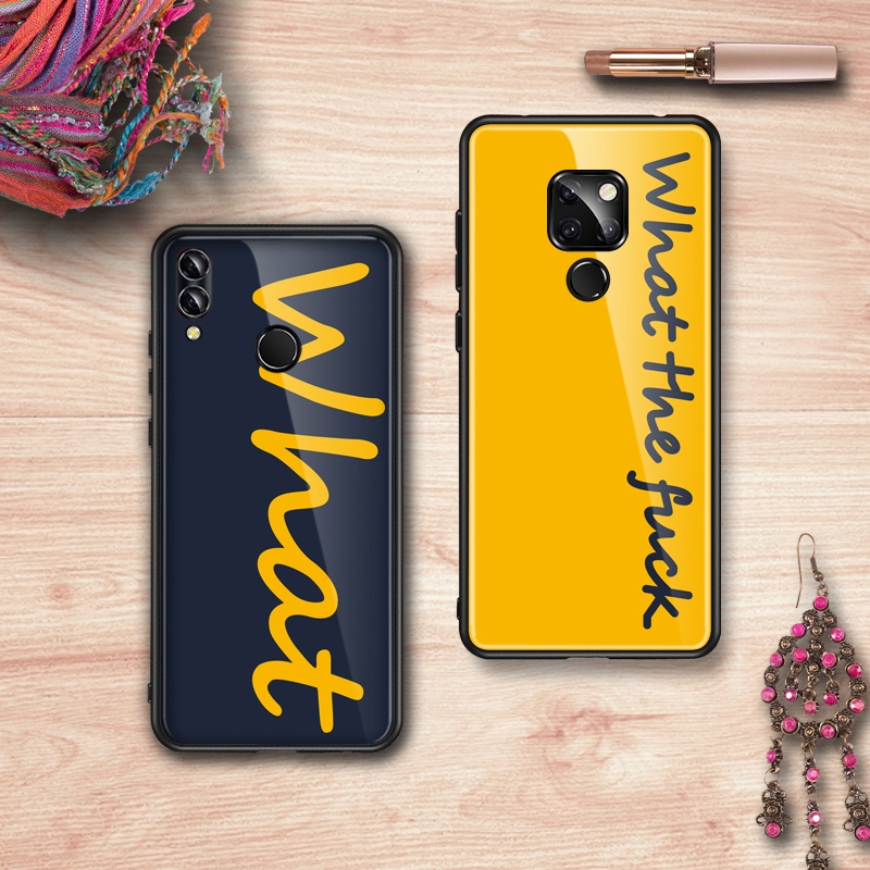 WHAT huawei glass hard case nova4 4e 3i 2i Y9 (2019) Y8(2018) Y7pro p30 p20  p10plus mate20pro mate10 honor10
