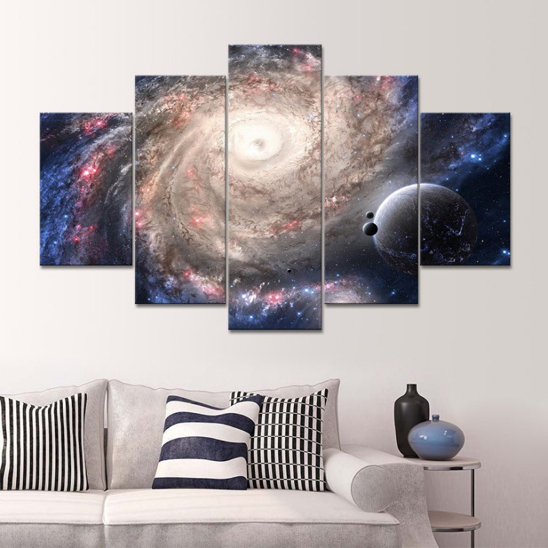 5 Panels Painting Universe Space Canvas Prints Wall Art Home Decoration