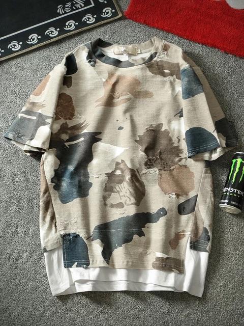 [S~4XL]Men Clothing European Short Sleeve Camouflage Top 潮男短袖T恤夏季新款潮牌欧美嘻哈潮流假两件宽松迷彩半袖男士T恤