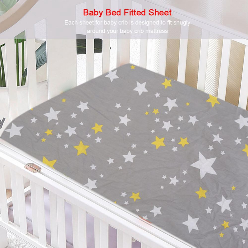🔥ready stock🔥stars pattern cotton baby bed fitted sheet newborn