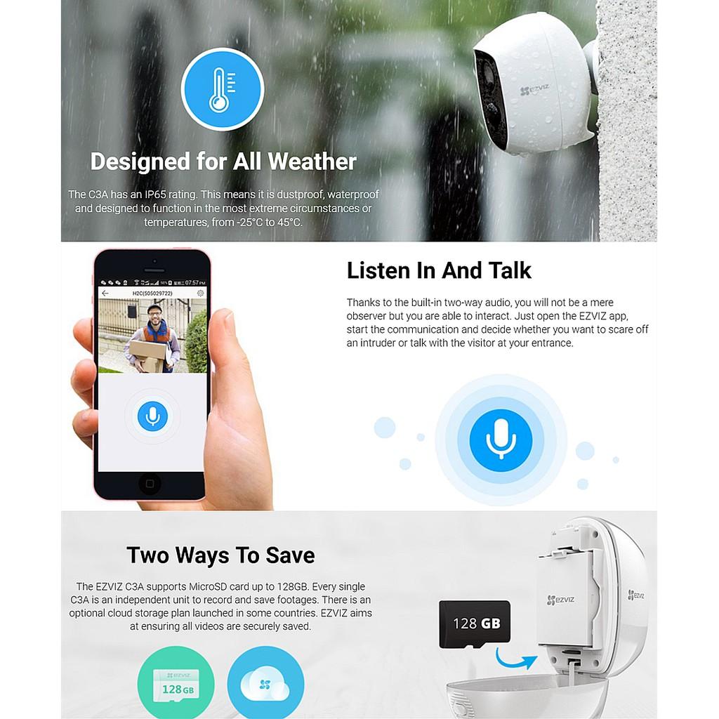 Ezviz C3A Battery Powered Outdoor/Indoor 1080P Full HD Wireless WiFi Smart  IP Camera / Weatherproof CCTV
