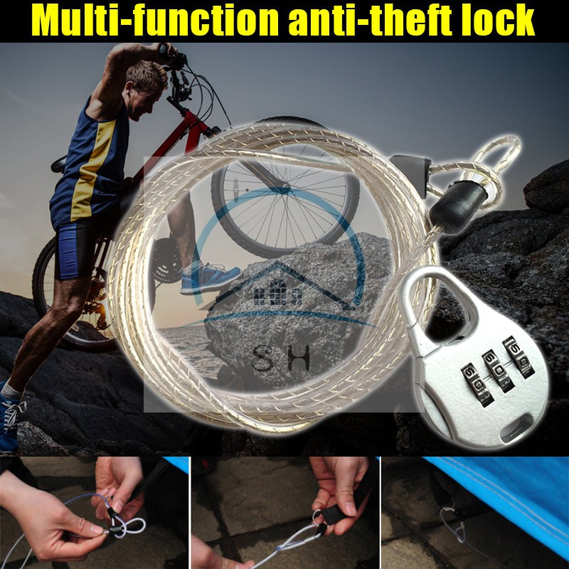 Bicycle Steel Cable Lock 4 Digit Combination Password Anti Theft Luggage Chain