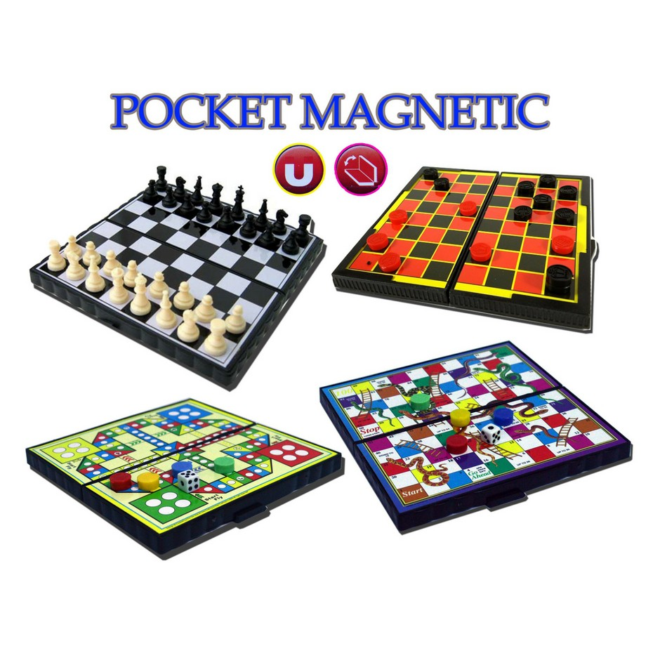 Mini Pocket Magnetic Game Set/Chess/Draughts/Snake/Aeroplane