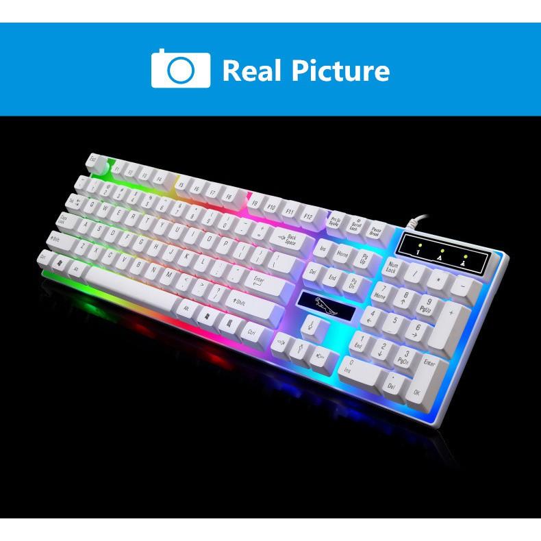 【Light Leopard G21】LED Colorful Backlight Adjustable Gaming USB Wired Back light Keyboard + Mouse Set