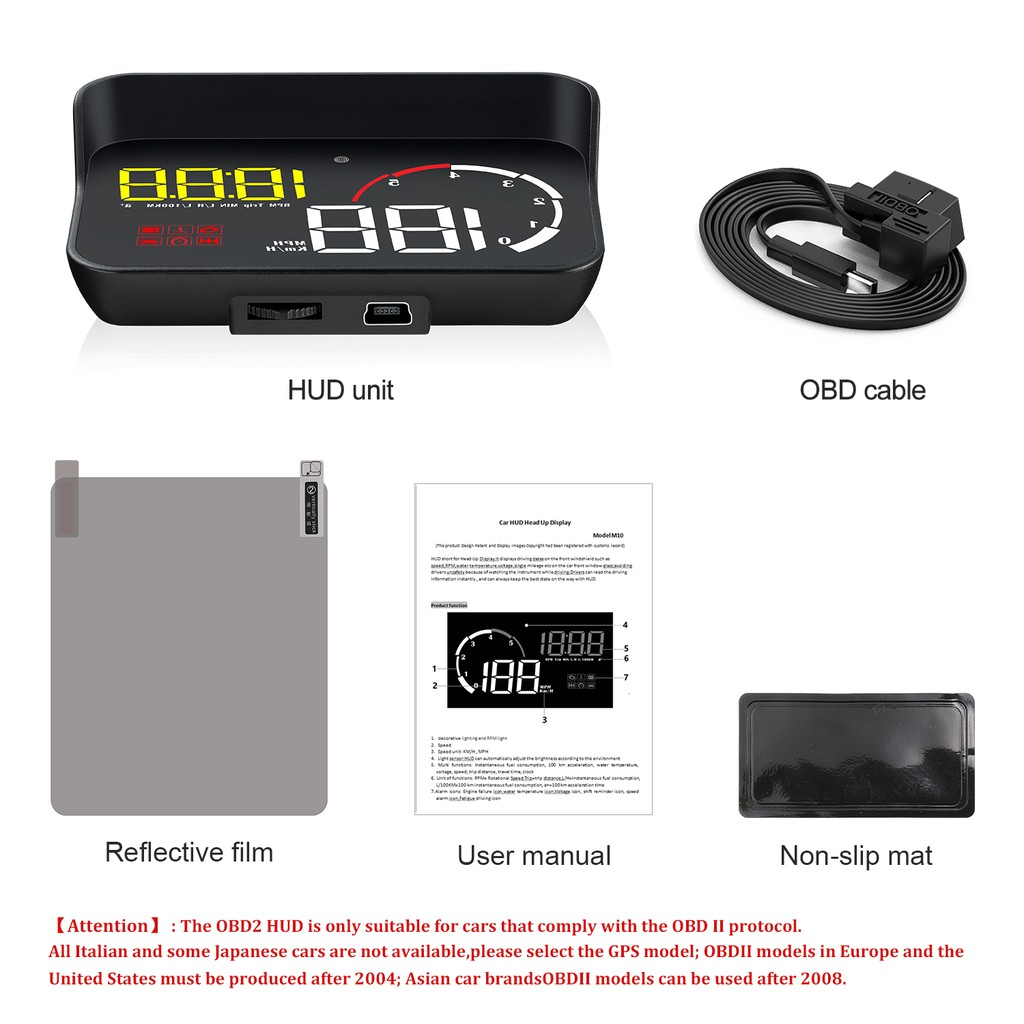 Car Head-up Display M10 Speed Universal OBD Multi-Function smart HUD