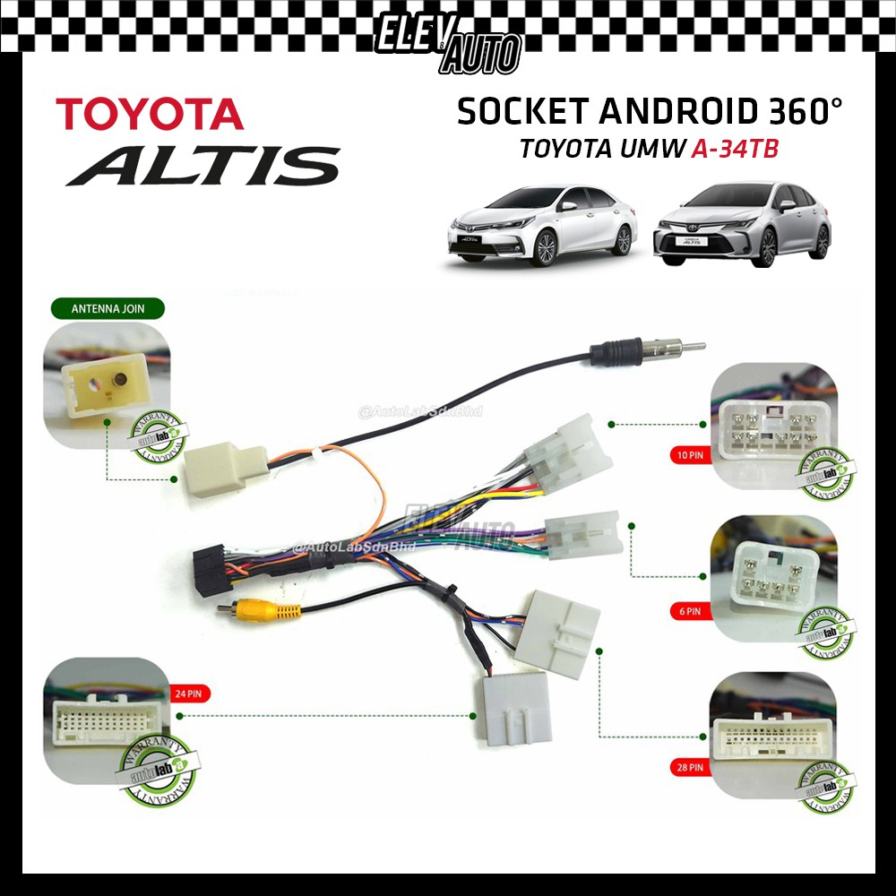 360 Camera Android Socket Toyota Altis A-34TB