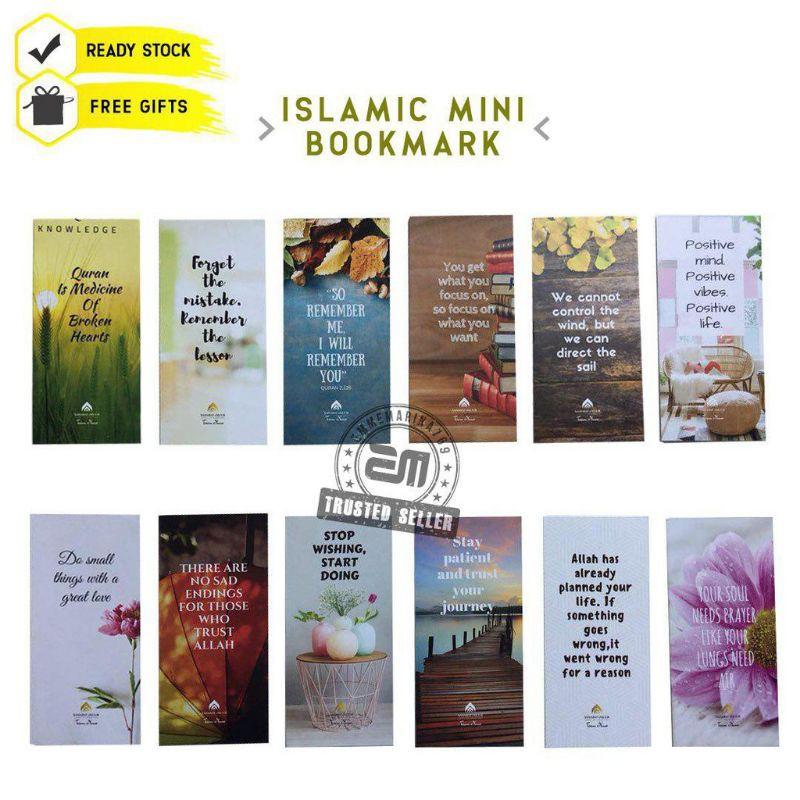 3pcs Free Gift Cute Murah Doorgift Mini Bookmark Islamik Quotes Card Penanda Al Quran Buku Motivation Wall Sticker