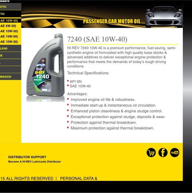 HI-REV ENGINE OIL 7240 10W-40 4L&5L | Shopee Malaysia